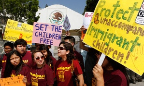 Immigration activists protest outside the Mexican consulate in Los Angeles.