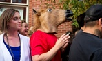 The man in the horse mask waited to meet Obama in Denver.