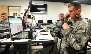 An Army lieutenant uses the Virtual Battle Space II system at the Fort Campbell Kinnard Mission Training Complex before a walk-and-shoot exercise, on September 6, 2012.