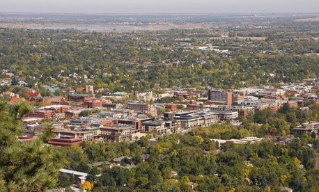 A view of Boulder, Colorado, which sits at the foot of the Rocky Mountains' Front Range.