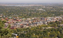 A view of Boulder, Colorado, which sits at the foot of the Rocky Mountain's Front Range.