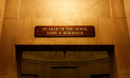 A sign over an entrance to the Speaker's Rooms in the Capitol building bear John Boehner's name and title.