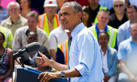 President Barack Obama speaks about transportation and an initiative to increase private sector investment in national infrastructure at the Port of Wilmington in Wilmington, Del.