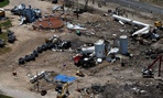 The damage from the fertilizer plant explosion in West, Texas is seen from helicopters.