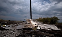 Flowers lie on the wrecked fuselage at the crash site of Malaysia Airlines Flight 17 near the village of Hrabove, eastern Ukraine.