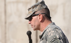 U.S. Army Maj. Gen. Michael Oates, commander of 10th Mountain Division, delivers a speech during a change of authority ceremony in 2008 in Iraq.