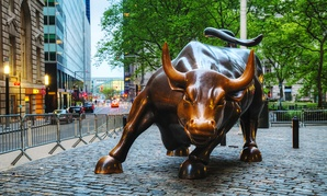 The Charging Bull sculpture sits in New York's Bowling Green Park near Wall St.