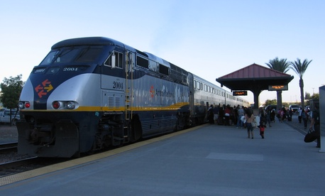 An Amtrak train waits to be boarded in Fresno.