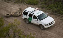 South Texas Border Patrol vehicle covers tracks that could help illegal immigrants find their way.