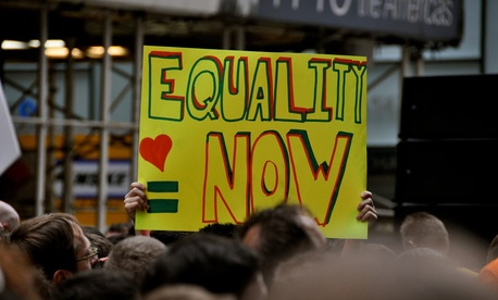A demonstrator hold a sign during a 2009 marriage equality rally in New York.