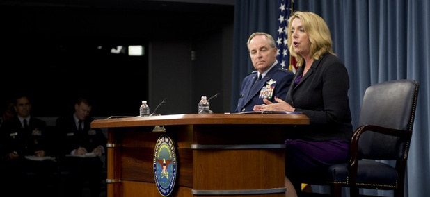 Air Force Secretary Deborah Lee James and service Chief of Staff Gen. Mark Welsh  spoke to reporters Wednesday.