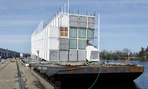 The Google barge is seen moored at the Port of Stockton Thursday, March 6, 2014, in Stockton, Calif. Google's mystery barge has arrived at its new home in the California delta after the Internet company was ordered to move it from San Francisco.