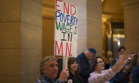 Groups rallied for a minimum wage increase in Minneapolis in February.