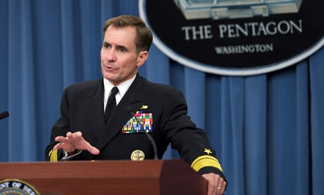 Pentagon Press Secretary Rear Adm. John Kirby announced the strikes in a tweet.