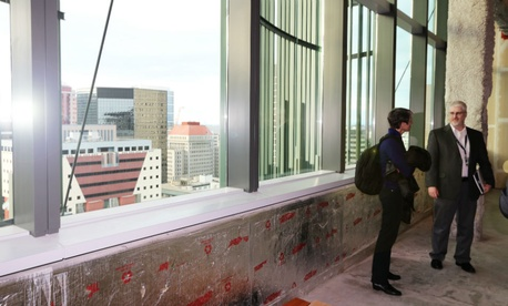 Interior Secretary Sally Jewell tours one of the most energy efficient office buildings in the country -- the Edith Green-Wendell Wyatt Federal Building in Portland.