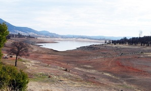 New Hogan Lake, like most of California, is drier than usual this year.