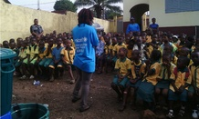 UNICEF and partners educate school children in Conakry, Guinea, about the virus.