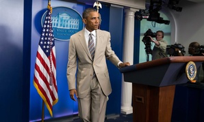 President Obama leaves the podium in the James Brady Press Briefing room on Thursday.