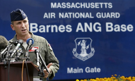 Col. James Keefe of the Massachusetts Air National Guard takes questions on the crash.