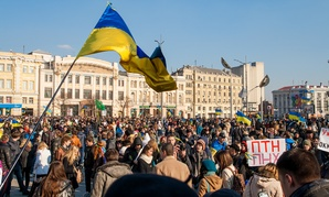 Protestors rally against Russia in Kharkiv in March.