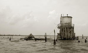 The remains of what was Pass Manchac lighthouse in Louisiana, which have since washed away.