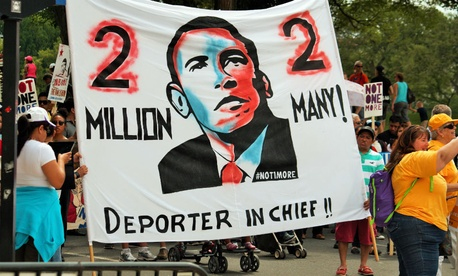 Protesters attend an anti-deportation rally in Washington in August.