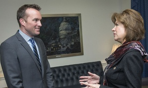 Maria Contreras-Sweet, head of the Small Business Administration, meets with Undersecretary of the Air Force Eric Fanning at the Pentagon in April.