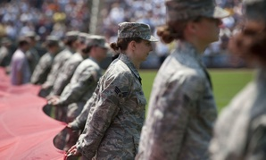 Women service members are honored at Target Field in Minneapolis. More veterans today are young and female.