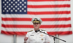 Adm. Michael S. Rogers, commander of U.S. CYBERCOM and Director of the NSA, speaks during a Memorial Day ceremony at Fort Meade, on May 18, 2014.