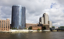 The Grand River runs through downtown Grand Rapids.
