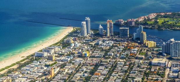An aerial view of Miami Beach, Florida.