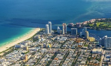 An aerial view of Miami Beach, Florida.