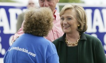 Clinton attends Sen. Tom Harkin's annual fundraising Steak Fry in Iowa.