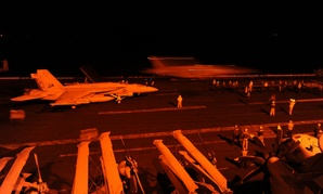 F/A-18 aircraft prepare to launch from the flight deck of the aircraft carrier USS George H.W. Bush to conduct strikes against ISIL on Sept. 22.