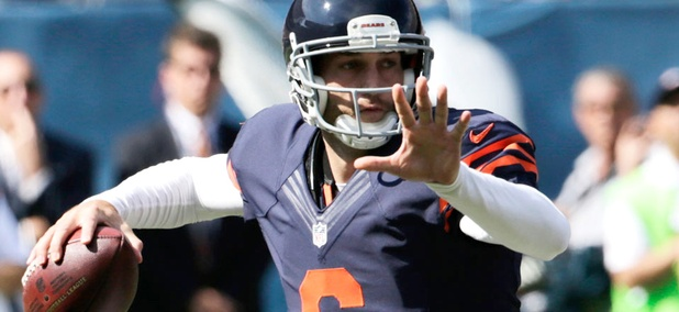 Chicago Bear quarterback Jay Cutler throws a pass during the team's game Sunday against the Green Bay Packers.