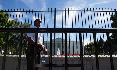 A Secret Service police officer stands outside the White House on Sept. 22.