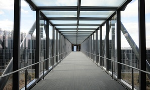 A walkway connecting sections of the Coast Guard's new headquarters at St. Elizabeths. The Coast Guard headquarters was the first phase of the project.