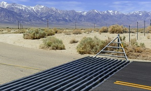 Cattle guards like this one are common features along rural roads in the American West.