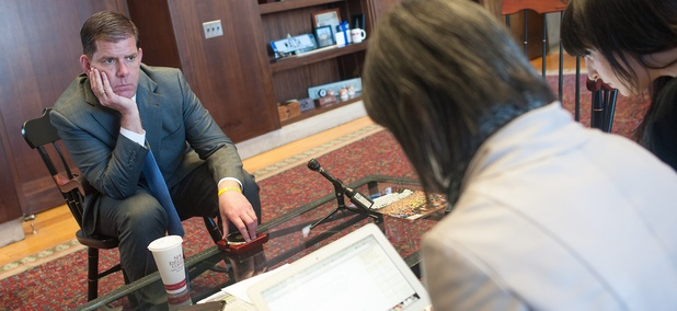Boston Mayor Marty Walsh in his City Hall office during a Reddit AMA in April.