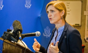 American ambassador to the United Nations Samantha Power speaks to media in the city of Freetown , Sierra Leone, Monday,.