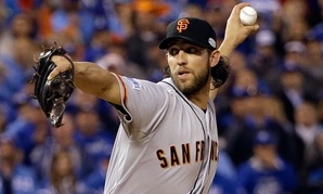 Series MVP Madison Bumgarner pitches during the World Series last week.