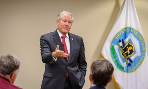 Under Secretary of Defense for Acquisition, Technology and Logistics Frank Kendall speaks to faculty at the Defense Acquisition University at Fort Belvoir, Virginia.