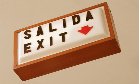 """Salida"" means ""exit"" in Spanish."