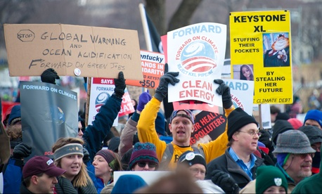 Protestors rally against the Keystone XL project in Washington in February 2013.