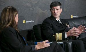 Vice Adm. William Moran chats with Defense One Managing Editor Stephanie Gaskell at the annual Defense One Summit.