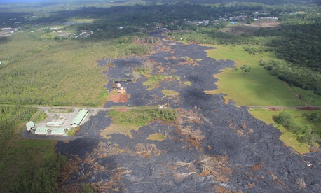 The lava flow is more or less stalled just outside Pahoa, Hawaii.