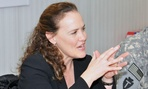 Michele Flournoy, one of the top contenders, visits with troops in Southern Iraq in 2011.