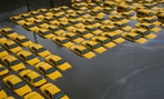 A taxicab parking lot in Hoboken, N.J., was submerged during Superstorm Sandy in 2012.
