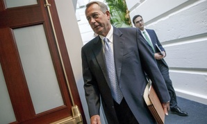 House Speaker John Boehner arrives for a meeting with Republicans on Tuesday.