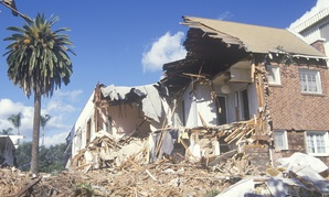 This Santa Monica apartment building sustained major damage during the 1994 Northridge earthquake in Southern California.